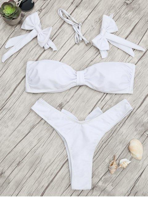 chic Padded Bow Bandeau Thong Bikini Set - WHITE M Mobile