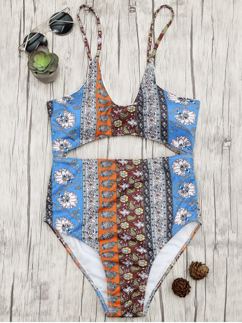 Cut-out Patchwork Print One Piece Swimsuit - Floral S Mobile