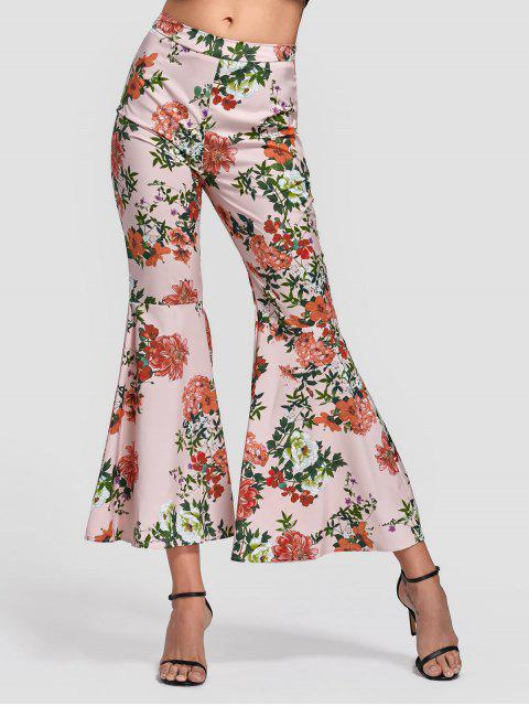online Side Zip Floral Bell Bottom Pants - FLORAL S Mobile