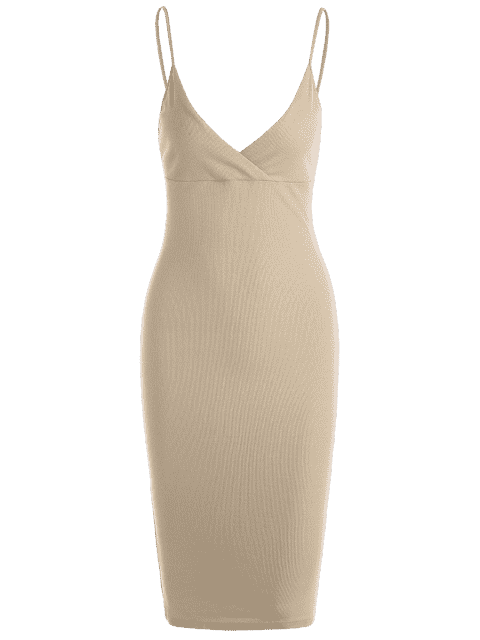latest Knitted Ribbed Bodycon Dress - KHAKI L Mobile
