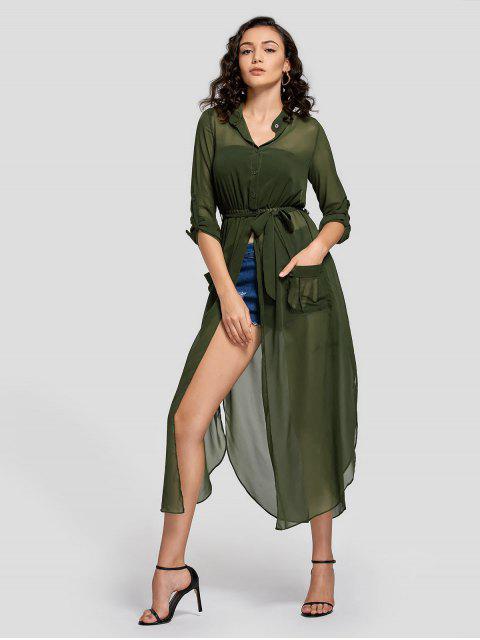 Robe Maxi Semi Boutonnée avec Fente et Ceinture - Vert Armée L Mobile
