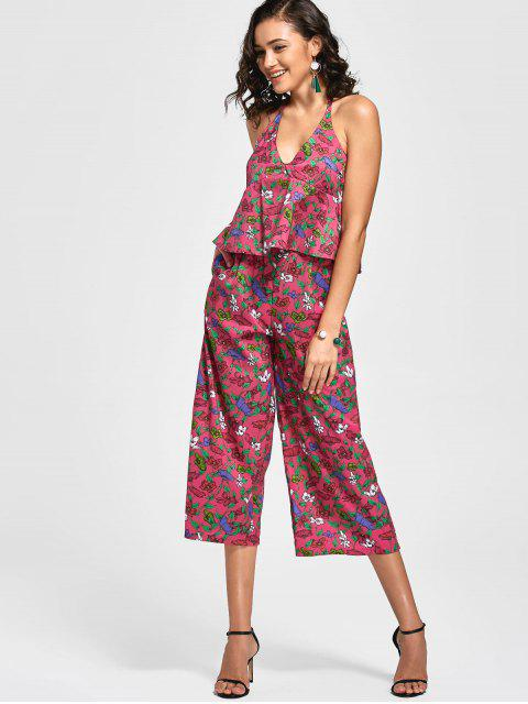 outfits Backless Floral Wide Leg Jumpsuit - FLORAL S Mobile