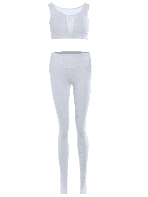 latest Cut Out Mesh Padded Stirrup Gym Suit - WHITE L Mobile