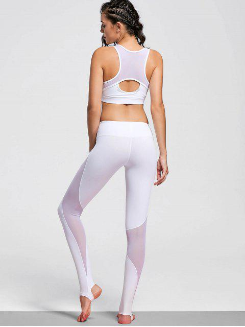 trendy Cut Out Mesh Padded Stirrup Gym Suit - WHITE M Mobile