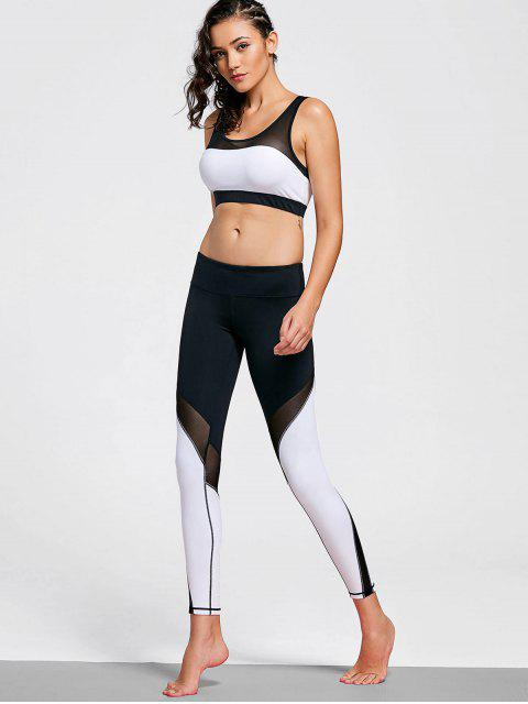 chic Mesh Insert Stretchy Color Block Gym Suit - WHITE AND BLACK M Mobile