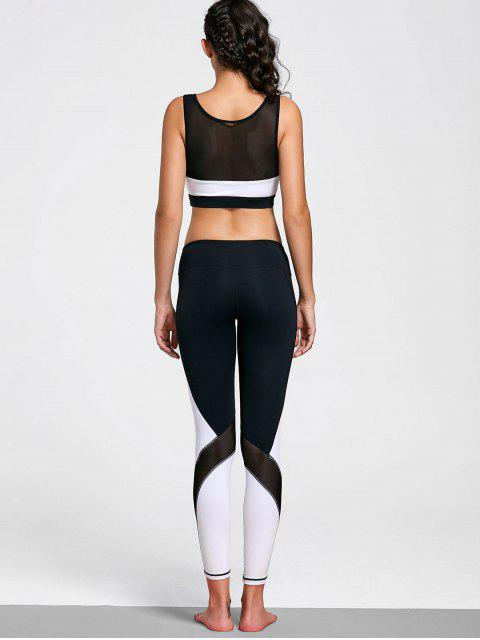 fancy Mesh Insert Stretchy Color Block Gym Suit - WHITE AND BLACK S Mobile