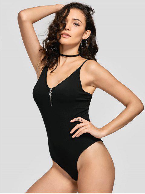 unique Skinny Half Zip Bodysuit - BLACK M Mobile