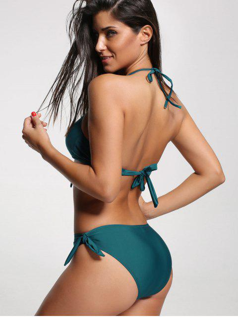 One Piece Cut Out Halter Swimwear - Vert M Mobile