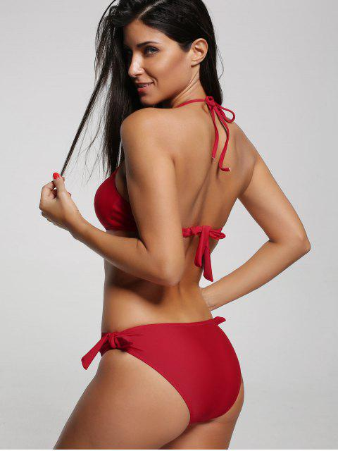 One Piece Cut Out Halter Swimwear - Rouge L Mobile