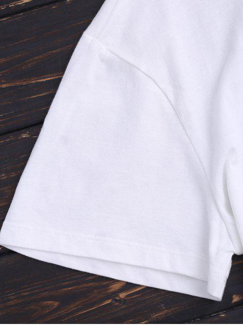 affordable Loose Graphic Drop Shoulder Top - WHITE 2XL Mobile