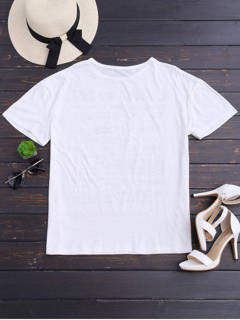 women's Loose Graphic Drop Shoulder Top - WHITE S Mobile