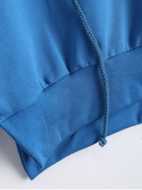 Casual Slit Cropped Hoodie - Bleu S Mobile