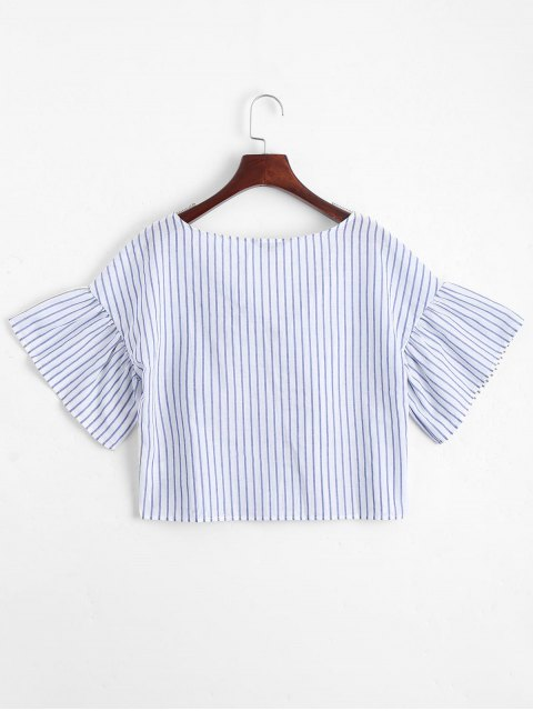 outfit Loose Bowknot Striped Top - STRIPE L Mobile