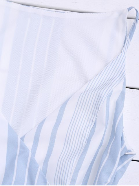 womens Belted Stripes Ruffles Slip Dress - STRIPE M Mobile