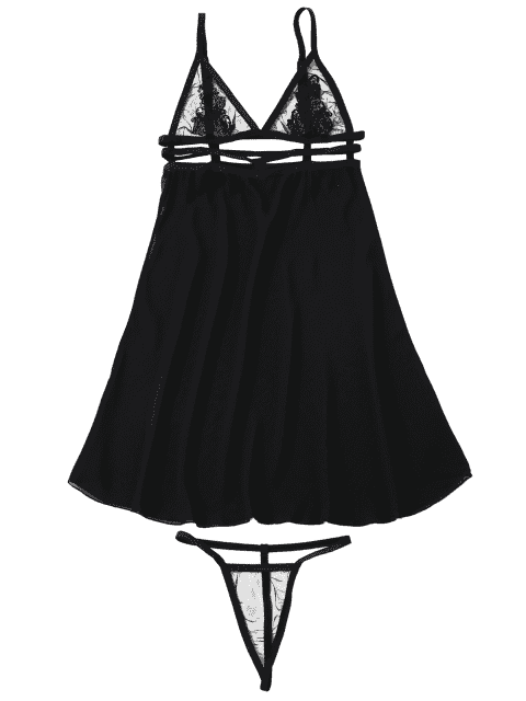 lady Sheer Babydoll Slip Dress With Thong Panty - BLACK ONE SIZE Mobile