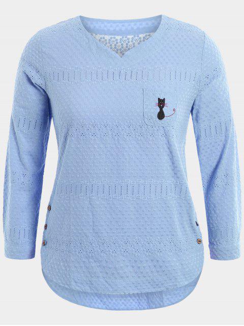 Dibujos animados bordados blusa superior con bolsillo - Azul Claro 4XL Mobile