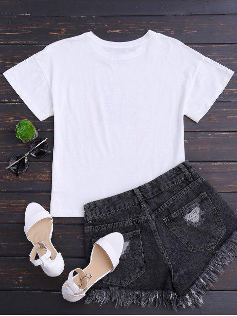T-shirt en coton à épaule - Blanc L Mobile