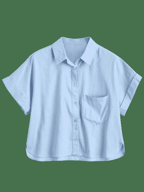 Chemise Imprimé Requin et Lettre Boutonnée avec Poche - Bleu clair S Mobile