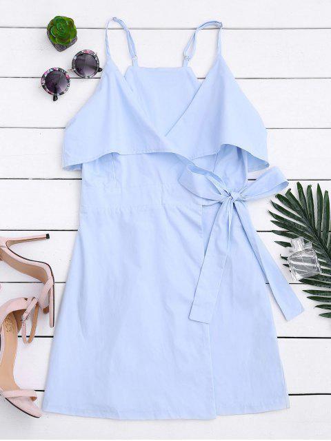 Overlay Slip Wrap Mini Dress - Bleu clair M Mobile