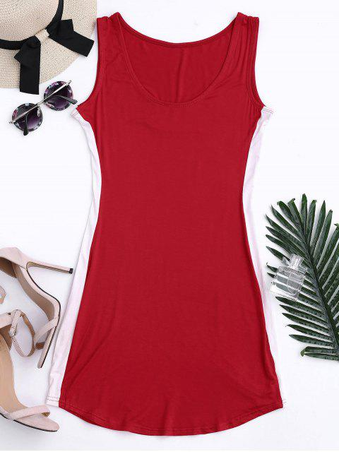 affordable Sports Two Tone Bodycon Dress - RED 2XL Mobile