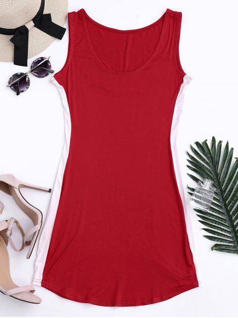 women Sports Two Tone Bodycon Dress - RED M Mobile