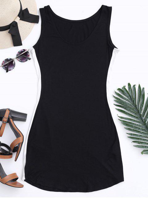 lady Sports Two Tone Bodycon Dress - BLACK L Mobile