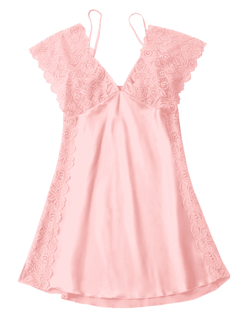 online Lace Satin Mini Sleep Dress - PINK XL Mobile