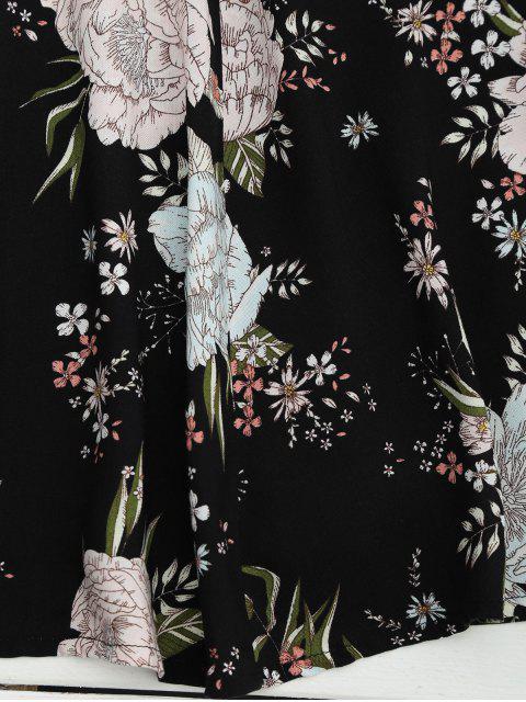 robe jaune et droite à col plongeant en floral  et à manches courtes et en mousseline de soie - Noir S Mobile