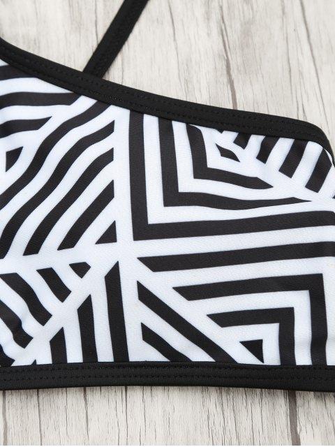 shop Padded Stripe Print Bikini Set - WHITE AND BLACK L Mobile