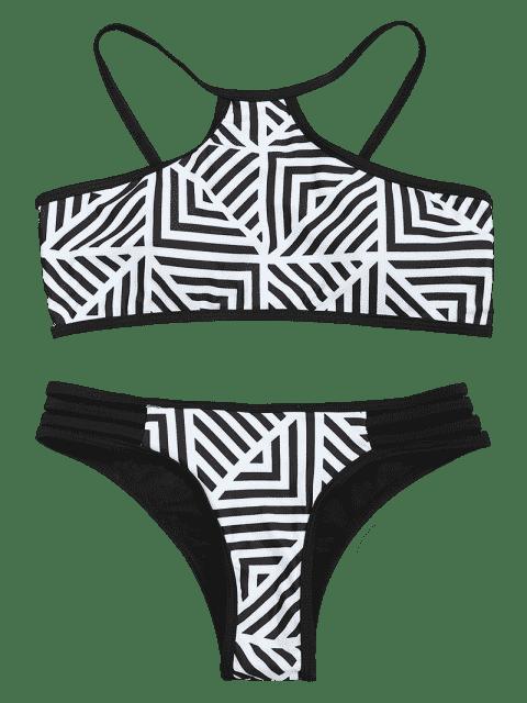 shops Padded Stripe Print Bikini Set - WHITE AND BLACK M Mobile