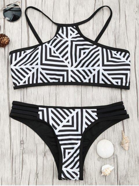 Ensemble de bikini à rayures rembourrées - Blanc et Noir S Mobile