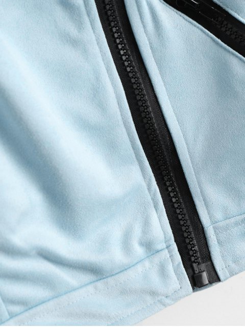 buy Fuax Suede Zip Up Cropped Jacket - LIGHT BLUE XL Mobile