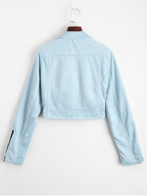 womens Fuax Suede Zip Up Cropped Jacket - LIGHT BLUE L Mobile