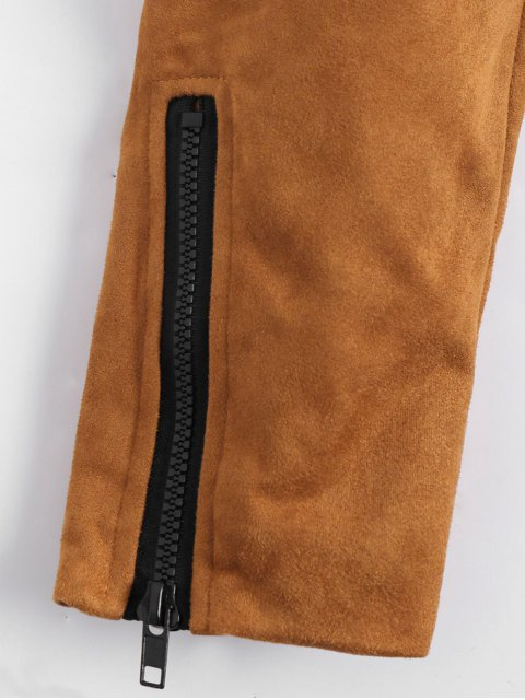 women's Fuax Suede Zip Up Cropped Jacket - LIGHT COFFEE 2XL Mobile
