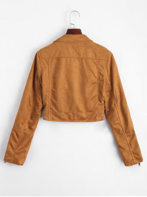 lady Fuax Suede Zip Up Cropped Jacket - LIGHT COFFEE L Mobile