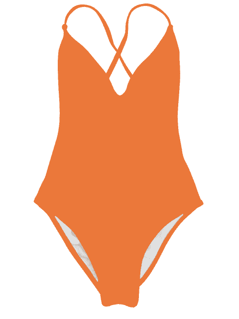 latest V Neck High Cut One Piece Swimsuit - ORANGE L Mobile