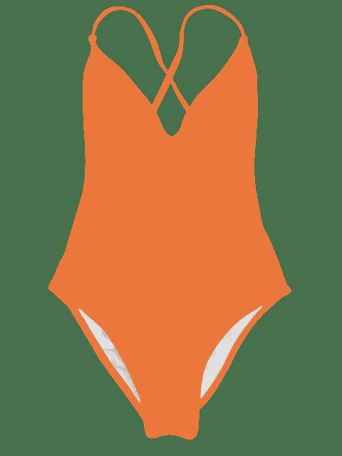 Maillot de Bain Une Pièce à Col en V Coupe Haute - Orange S Mobile