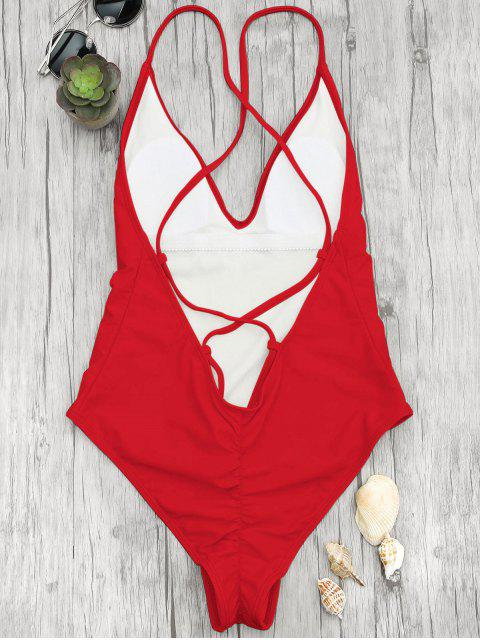 unique V Neck High Cut One Piece Swimsuit - RED S Mobile
