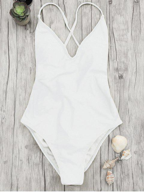 affordable V Neck High Cut One Piece Swimsuit - WHITE M Mobile