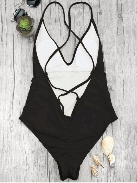 womens V Neck High Cut One Piece Swimsuit - BLACK L Mobile