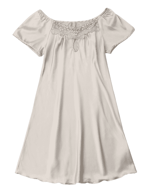outfit Short Sleeve Satin Lounge Sleep Dress - COMPLEXION 2XL Mobile