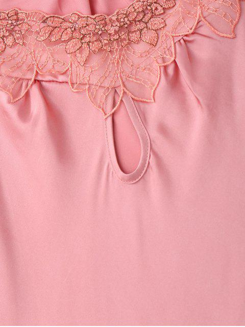 trendy Short Sleeve Satin Lounge Sleep Dress - PINK 2XL Mobile