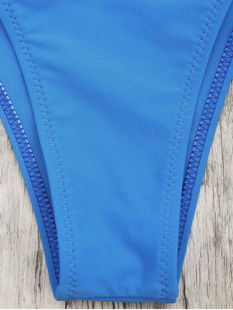 unique Frilled V String Tanga Bikini Set - BLUE L Mobile