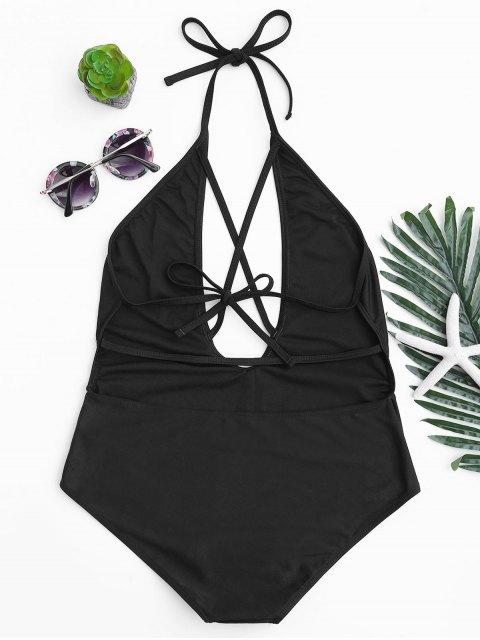 Halterneck Strappy Plunge One Piece Swimsuit - Noir S Mobile