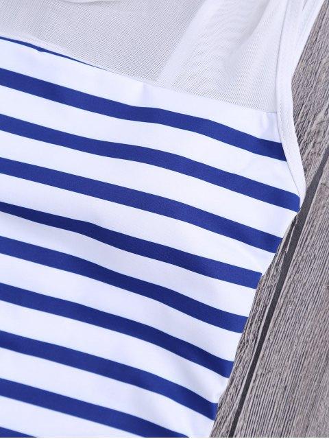 Mesh Inset Nautical Striped One Piece Swimsuit - Bleu et Blanc L Mobile
