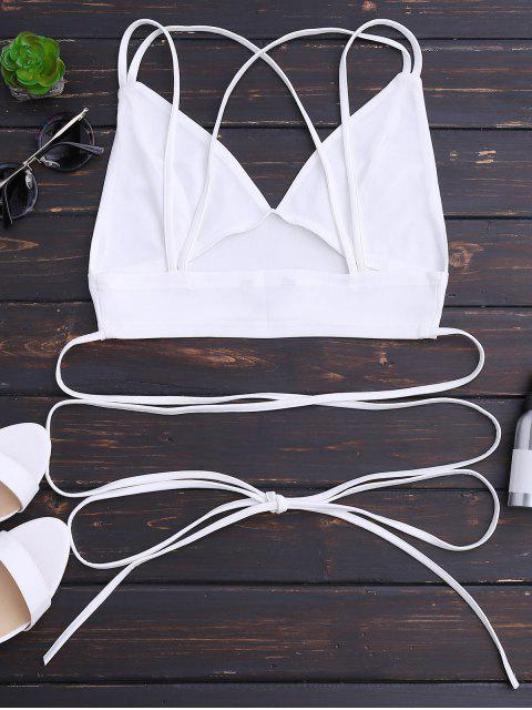 best Bralette Crossover Strappy Crop Top - WHITE 2XL Mobile