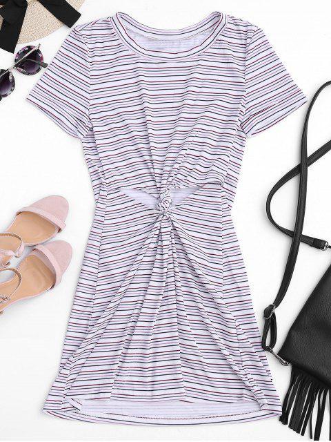 shop Twist Stripes Cut Out Mini Dress - STRIPE M Mobile