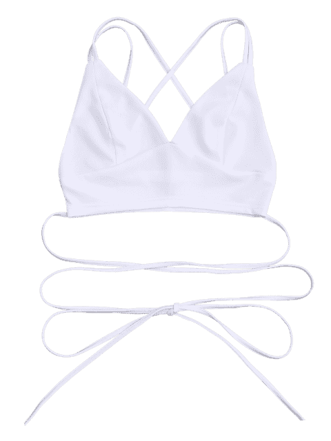 chic Bralette Crossover Strappy Crop Top - WHITE S Mobile