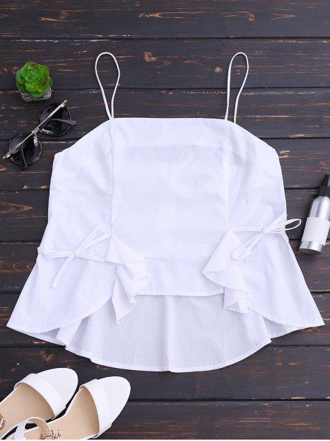 ladies Back Zip Bowknot Ruffles Tank Top - WHITE L Mobile