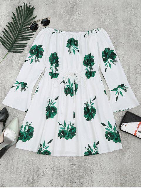 Vestido de manga larga con estampado floral - GREEN XL Mobile